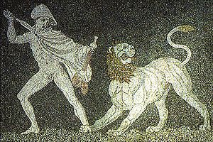 Alexander fighting a lion. 3rd century BC mosa...