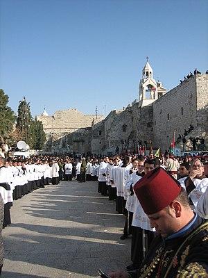 Catholic procession on Christmas Eve in Bethle...