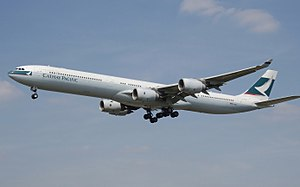 Airbus A340-600 wide-body airliner of Cathay P...