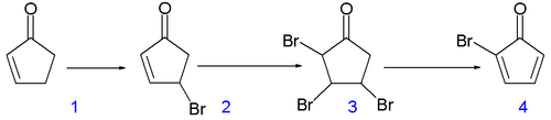 Scheme 1. Synthesis of cubane precursor bromocyclopentadienone