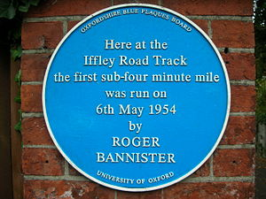 Blue plaque recording the first ever sub-4-min...