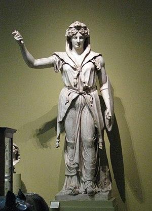 Roman statue Juno Sospita. Plaster cast in pus...