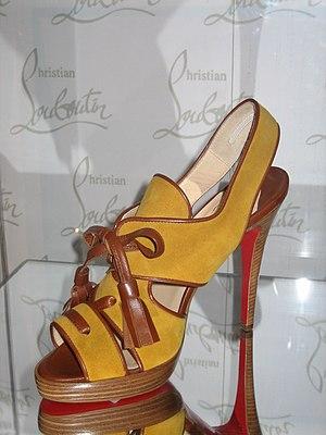 Christian Louboutin shoe at BATA Shoe Museum. ...