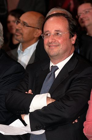 English: François Hollande at a political rall...