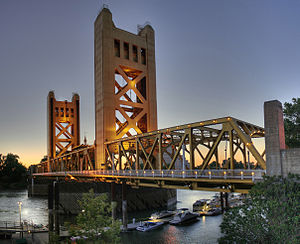 The Tower Bridge, built in 1935, a popular lan...