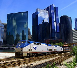 English: Amtrak train on the Empire Builder ro...