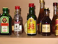 Some beverages that contain distilled alcohol.
