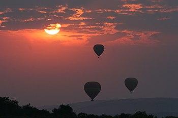 Hot Air Balloons over the Masai Mara, Kenya.