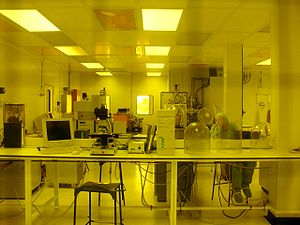 Inside of a cleanroom (grey rectangles on the ...