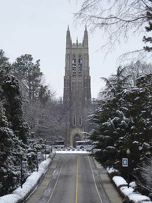 Duke University Chapel in snow.