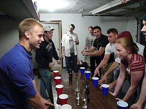 English: Beginning of a Flip cup game