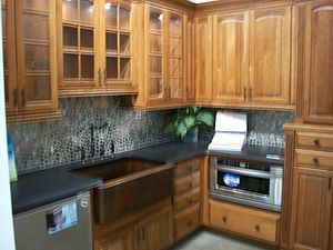 Kitchen cabinet display in a store in 2009. Fo...