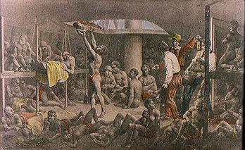 Escravos em um porão de embarcaçãoJohann Moritz Rugendas, c. 1810