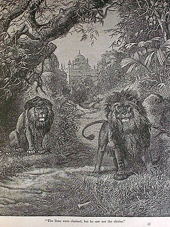 English: The lions were chained, but he saw no...