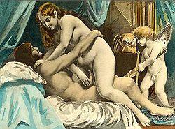 Scena erotica, opera di Édouard-Henri Avril, 1892, tratta dai Sonetti lussuriosi di Pietro Aretino.