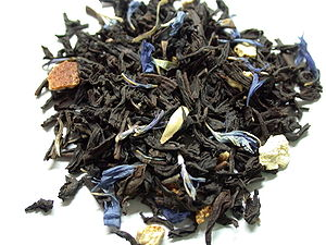 A pile of Twinings' Lady Grey tea leaves