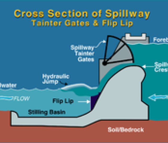 Cross Section Of Typical Spillway With Tainter Gates
