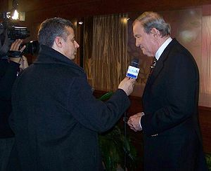 Pat Buchanan being interviewed in Manchester, NH