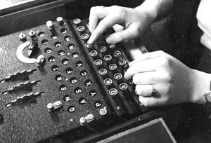 An Enigma machine in use in 1943