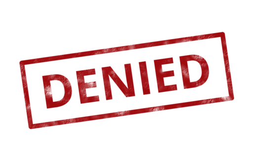 Denied insurance rejected stamp