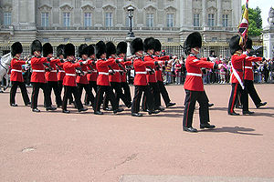Troops of the Grenadier Guards on guard at Buc...