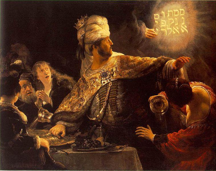 Belshazzar's Feast. Rembrandt. Oil on Canvas, [c1635-1638]
