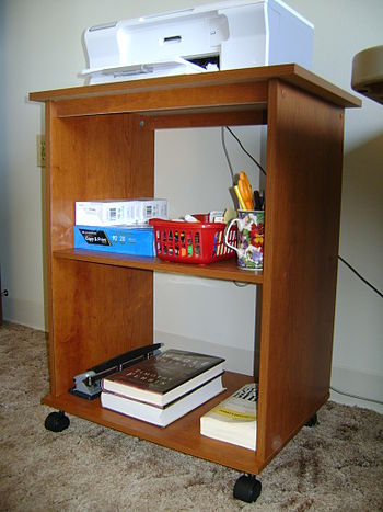 English: Sauder printer stand assembled