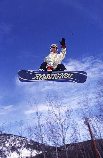 English: Snowboarding in New Brunswick, Canada