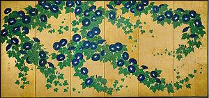 ja: 鈴木其一(寛政八〜安政五年)画『朝顔図屏風』 en: Asagao-zu Byōbu...