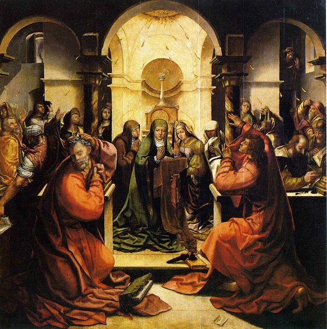 Grão Vasco, Pentecostes, da capela da portaria do mosteiro de Santa Cruz de Coimbra, 1534-35, assinada Velasco.jpg