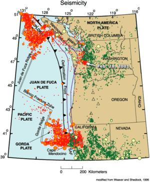 English: Map of the Juan de Fuca Plate.