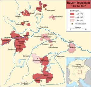 Karte des Teilherzogtums Bayern-Ingolstadt in ...