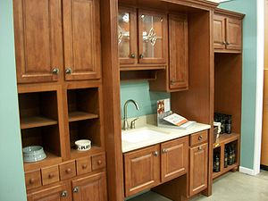 English: Kitchen cabinets are sold as integrat...