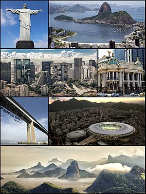 Photo montage of the city of Rio de Janeiro, B...