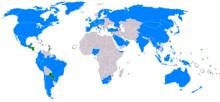 Bản đồ thế giới thể hiện các quốc gia có quan hệ với Trung Hoa Dân Quốc. Chỉ một vài nước nhỏ công nhận Trung Hoa Dân Quốc, chủ yếu ở Trung Mỹ, Nam Mỹ và châu Phi.