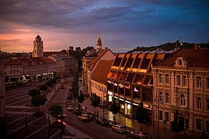 English: Vilnius at dusk