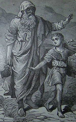 English: Abraham going up to offer Isaac as a ...