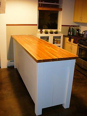 Cherry butcher block counter top.