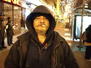 A photo of a homeless man in Chicago, Ill.