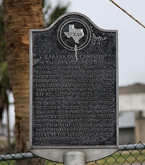 English: Historical Marker for a Karankawa ind...