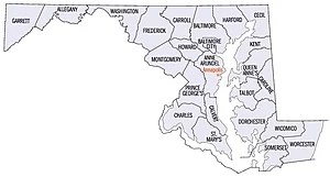 English: Map of Maryland counties