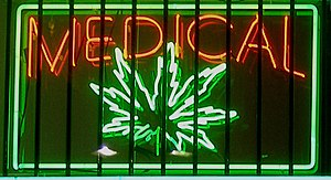 Medical marijuana neon sign at a dispensary on...