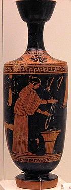 Mujer trabajando la lana, 480-470a.C. Museo Arqueológico Nacional de Atenas