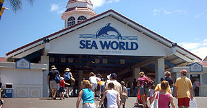 The entrance to Sea World in the Gold Coast, A...