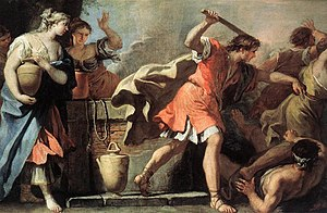 Moses Defending the Daughters of Jethro