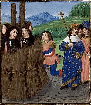 English: Burning of Templars. (British Library...
