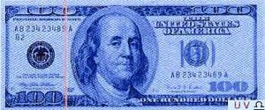 100 USD under ultraviolet light