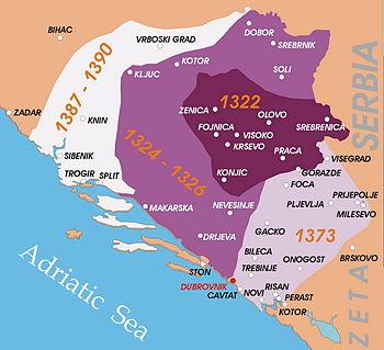 English: Kingdom of Bosnia in the XIV century....