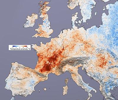 Alterações na temperatura européia em relação à média. Imagem da Wikipédia