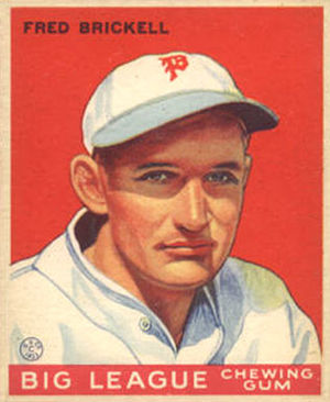 English: 1933 Goudey baseball card of Fred Bri...